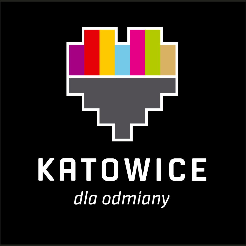 Katowice Logo pion biale